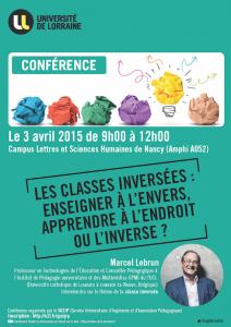 Vendredi 3 avril 2015 – Conférence – Les classes inversées : enseigner à l'envers, apprendre à l'endroit ou l'inverse ?