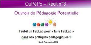 3e Récit OuPéPo FabLab